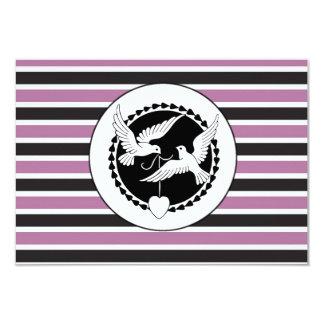 Het paarse en Zwarte Gestreepte Huwelijk RSVP van Kaart