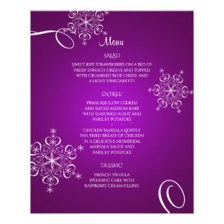 Het paarse Menu van het Huwelijk van de Elegantie Flyer 11,4 X 14,2 Cm