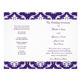 Het paarse Vintage Programma van het Huwelijk van Flyer