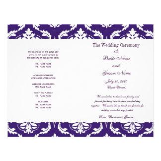 Het paarse Vintage Programma van het Huwelijk van  Gepersonaliseerde Folder