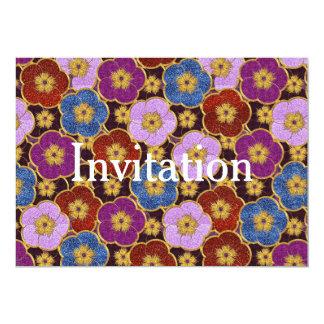 Het Patroon van bloemen in multi-Kleuren 12,7x17,8 Uitnodiging Kaart