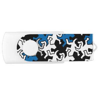 Het Patroon van de Gekko's van het mozaïek - blauw Swivel USB 2.0 Stick