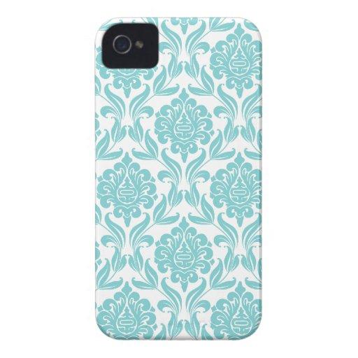 Het Patroon van het Damast van Aqua iPhone 4 Hoesje