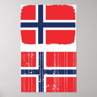 Het Poster van de Vlag van Noorwegen