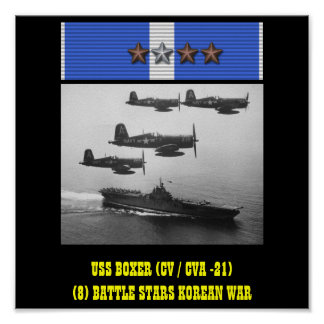 HET POSTER VAN USS VAN DE BOKSER (CV/CVA -21)