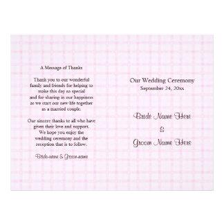 Het Programma van het huwelijk in Bord - roze Flyer 21,6 X 27,9 Cm