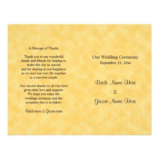 Het Programma van het huwelijk in Geel en Zwart Folders