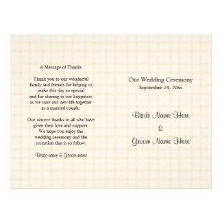 Het Programma van het huwelijk. Lichte Beige Flyer 21,6 X 27,9 Cm