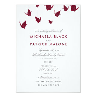 Het Programma van het Huwelijk van de Kranen van 13,9x19,1 Uitnodiging Kaart