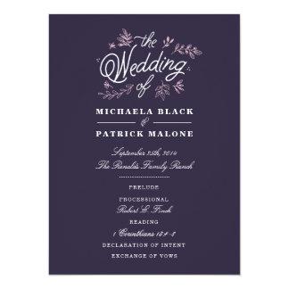 Het Programma van het Huwelijk van Wildflower 13,9x19,1 Uitnodiging Kaart