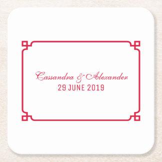 Het rode Elegante Huwelijk van Deco Vierkante Onderzetter