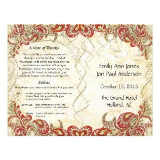 Het rode Gouden Programma van het Huwelijk van de Flyer 21,6 X 27,9 Cm