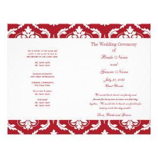 Het rode Witte Vintage Programma van het Huwelijk  Fullcolor Folder