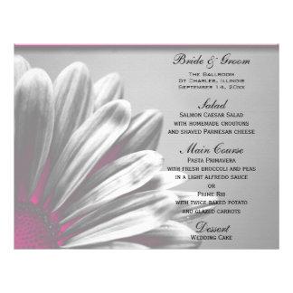 Het roze BloemenMenu van het Huwelijk van Hoogtepu Folder Ontwerp
