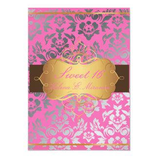 Het Roze Damast van PixDezines/Zoete kleuren 12,7x17,8 Uitnodiging Kaart