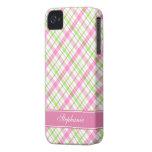 Het roze en Groene Patroon van de Plaid iPhone 4 Case-Mate Hoesjes