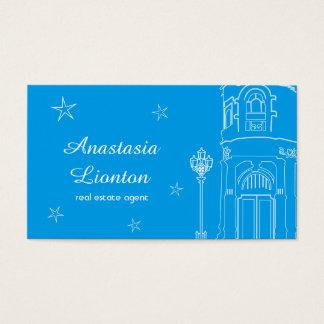 Het roze en het blauw van de makelaar in onroerend visitekaartjes