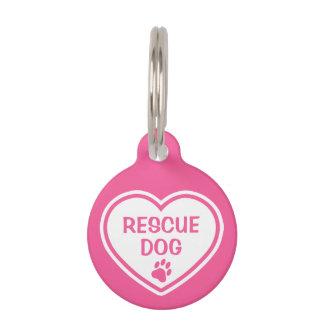 Het roze en Witte Hart van de Hond van de Redding Huisdierpenning