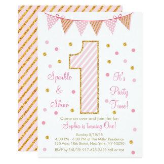 Het roze & het Goud schitteren Eerste Verjaardag 12,7x17,8 Uitnodiging Kaart