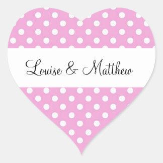 Het roze Huwelijk van Stippen Y190 Hart Sticker