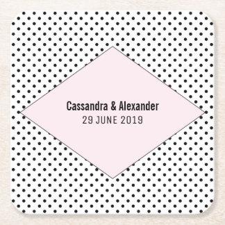 Het roze Moderne Huwelijk van Stippen Vierkante Onderzetter