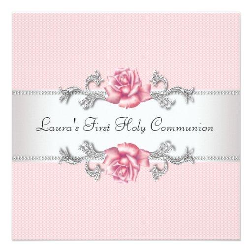 Het roze nam de Eerste Heilige Communie van Meisje Uitnodiging