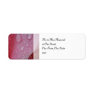Het roze nam het huwelijk van Bloemblaadjes toe Etiket