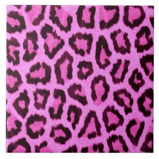 Het roze patroon van de luipaarddruk keramisch tegeltje