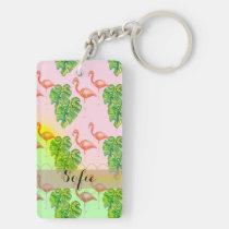 Het roze roze Monogram Keychain van de Flamingo Sleutelhanger