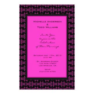 Het roze Zwarte Huwelijk van het Patroon Flyer 14 X 21,6 Cm