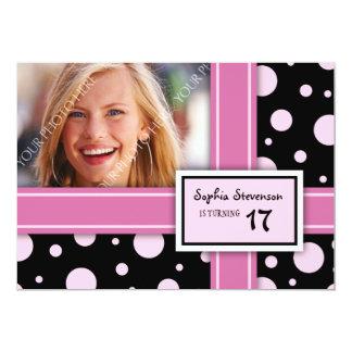 het Roze Zwarte Stip van de 17de van de Verjaardag Kaart