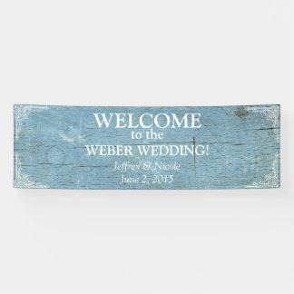 Het rustieke Blauwe Houten Huwelijk met bloeit Spandoek