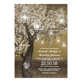 Het rustieke Huwelijk van de Lichten van de Boom & 12,7x17,8 Uitnodiging Kaart