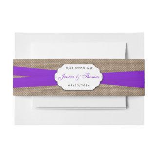 Het rustieke Paarse Collectie van het Huwelijk van Uitnodigingen Wikkel