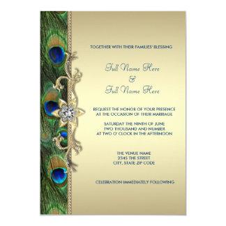 Het smaragdgroene en Gouden Huwelijk van de Pauw 12,7x17,8 Uitnodiging Kaart