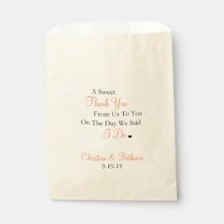 Het snoepje dankt u personaliseerde het Huwelijk Bedankzakjes 0