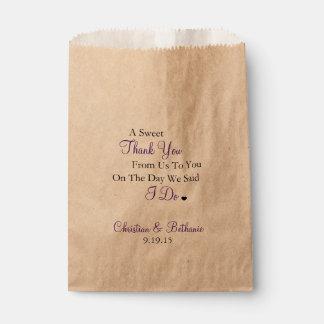 Het snoepje dankt u personaliseerde Paars Huwelijk Bedankzakje