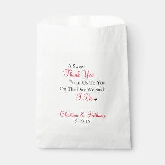 Het snoepje dankt u Zwart en Rood Huwelijk Zakje 0