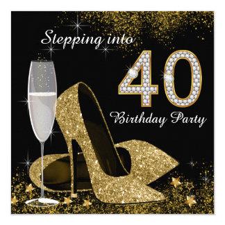 Het stappen in de Partij van Verjaardag 40 13,3x13,3 Vierkante Uitnodiging Kaart