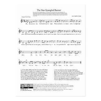 Het ster-Spangled Blad van de Muziek van het Briefkaart