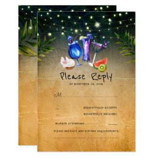 Het tropische Huwelijk RSVP van het Strand van Kaart