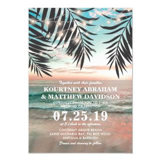 Het tropische Huwelijk van het Strand | Koord van 12,7x17,8 Uitnodiging Kaart
