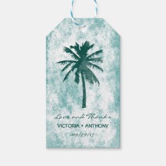 Het tropische Huwelijk van het Strand van de Palm Cadeaulabel