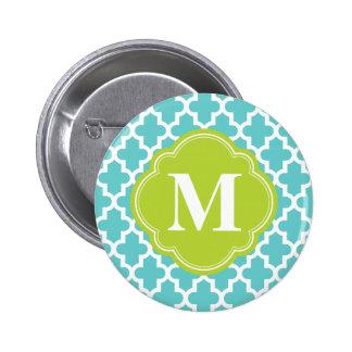 Het turkooise & Groene Moderne Marokkaanse Monogra Ronde Button 5,7 Cm