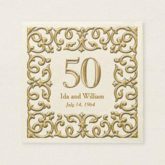 Het versierd Gouden Jubileum van het Lijst Papieren Servet