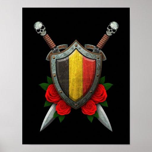 Het versleten Belgische Schild en de Zwaarden van  Afdruk