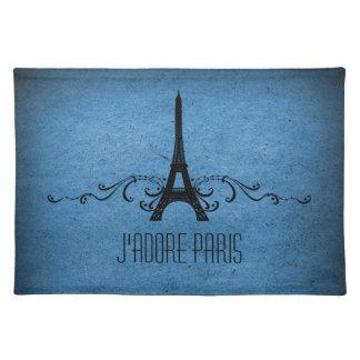 Het vintage Frans bloeit Blauwe Placemat, Onderleggers