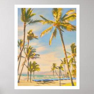 Het vintage Hawaiiaanse strand van PixDezines Poster