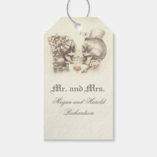 Het Vintage Huwelijk van het Paar van de schedel Cadeaulabel