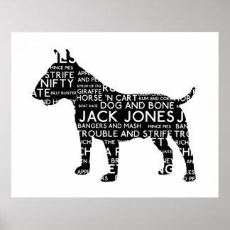 Het vintage Jargon Bull terrier van Londen van het Poster